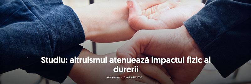 Studiu: altruismul atenuează impactul fizic al durerii